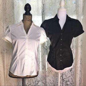 Express black & white collared button up shirt